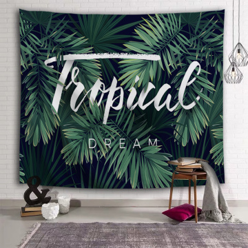 Tropical Palm Tree Leaf Tapestry Tropical Plants Wall Hanging Green Tapestry for Livingroom Bedroom Home Dorm Decor