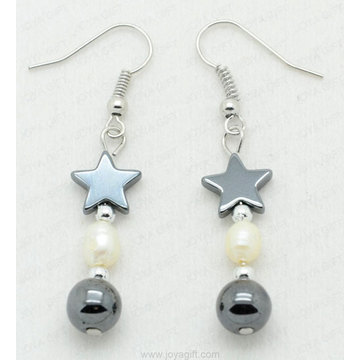 hematite pearl star beads earring