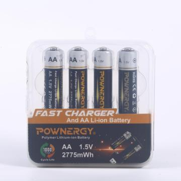 1.5v 2775mWh AA Rechargeable Lithium-ion Batteries