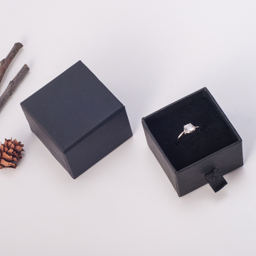 Handmade black drawer shape jewelry box