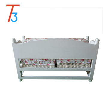 bench wooden shoe chair storage footstool weaving drawer