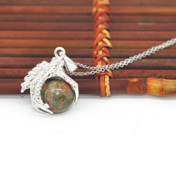 New Products 2016 Charm Jewelry Unakite Sphere Dragon Ball Claw Pendant