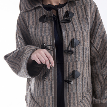 Striped hat cashmere overcoat