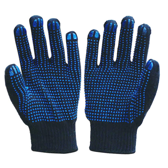 Knitted Cotton Working Gloves with double PVC Dot