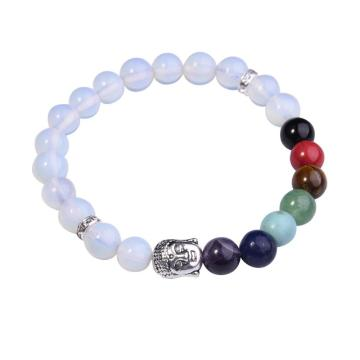 Opal Bracelet Buddha 7 Chakra Gemstone Alloy Beads Jewelry