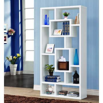 Modern Contemporary 10 Shelf Organizer Storage Bookcase - White Modern Contemporary 10 Shelf Organizer Storage Bookcase -