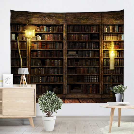 Bookshelf Backdrop Tapestry Vintage Bookrack Library Wall Hanging College Study Room Tapestries Wall Art for Bedroom Livingroom