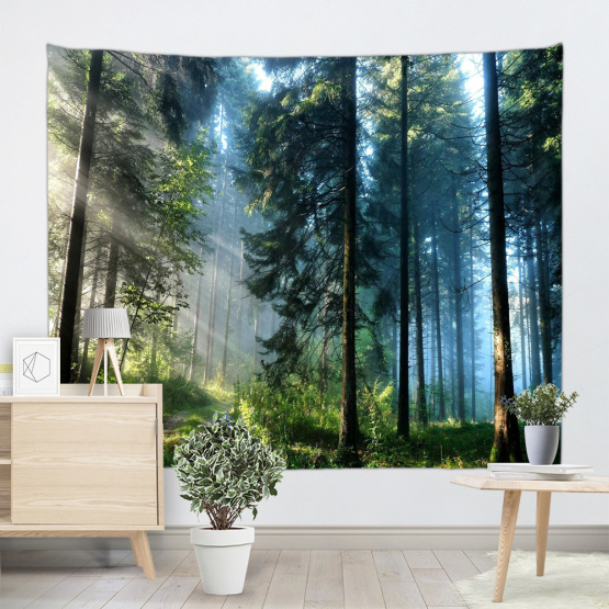 Forest Tapestry Wall Hanging Trees Trunks Green Blue Nature Sunlight Quiet Tapestry for Livingroom Bedroom Dorm Home Decor