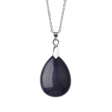 Natural Blue Goldstone 28x35MM Waterdrop Pendant Necklace with 45CM Silver Chain