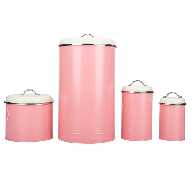 Kitchen Metal Airtight Pink Canister Set