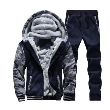 High Quality Men Plus-Velvet Plain Hoodies Zipper Tracksuit
