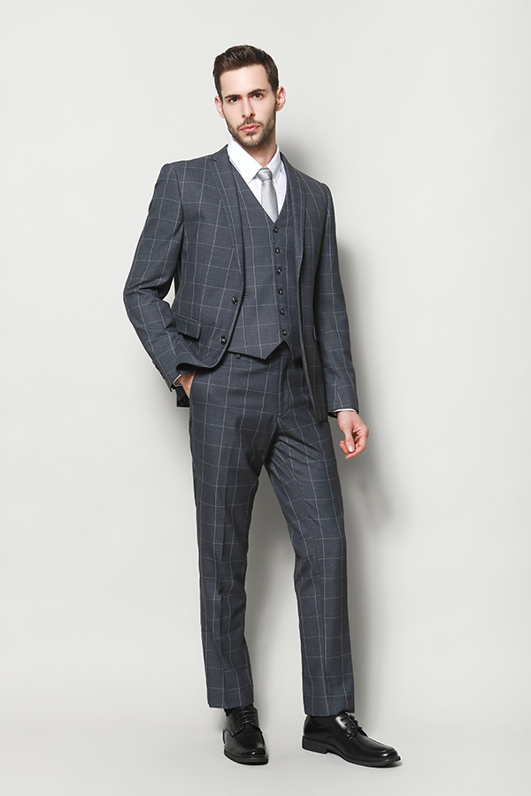 MEN'S BIG CHECK THIN STRIPE FASHION JACKET AND TROUSER