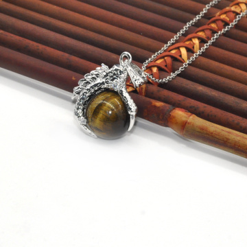 Wholesale Fashion Jewelry Tiger Eye Sphere Dragon Ball Claw Pendant