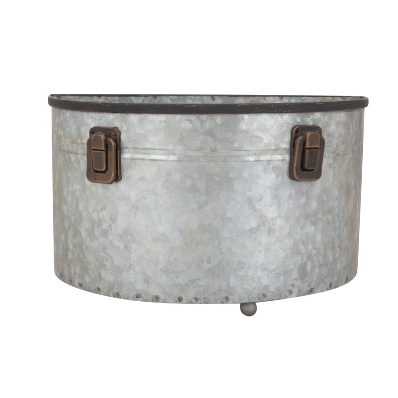Galvanized flower pot