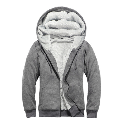 Winter Men's Fashion Solid Color Hooded Sweatshirt Coat