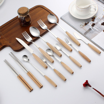 Stainless Steel Fork Spoon  Wooden Handle Cutlery