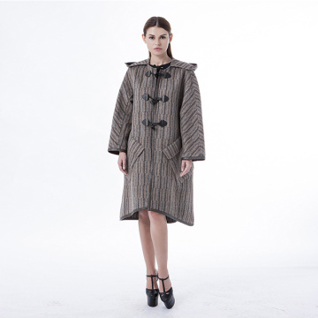 Brown hooded cashmere coat