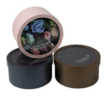 Flower packaging box round with PVC window