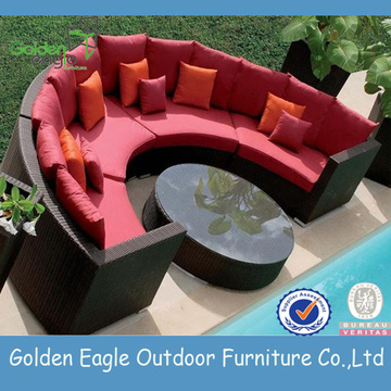 Garden Hemicycle Sectional Wicker Sofa Set