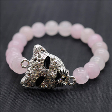 Rose Quartz 8MM Round Beads Stretch Gemstone Bracelet with Diamante alloy leopard head Piece
