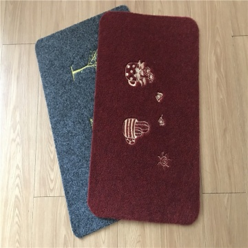 Polyester embroidery flowers pattern door mat