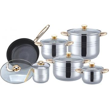 Gold plated 12pcs cookware set