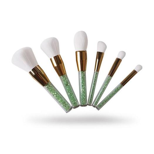 6pcs crystal handle white hair makeup brushes set