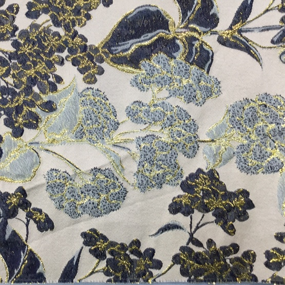Brown Flower Jacquard Textured Fabric