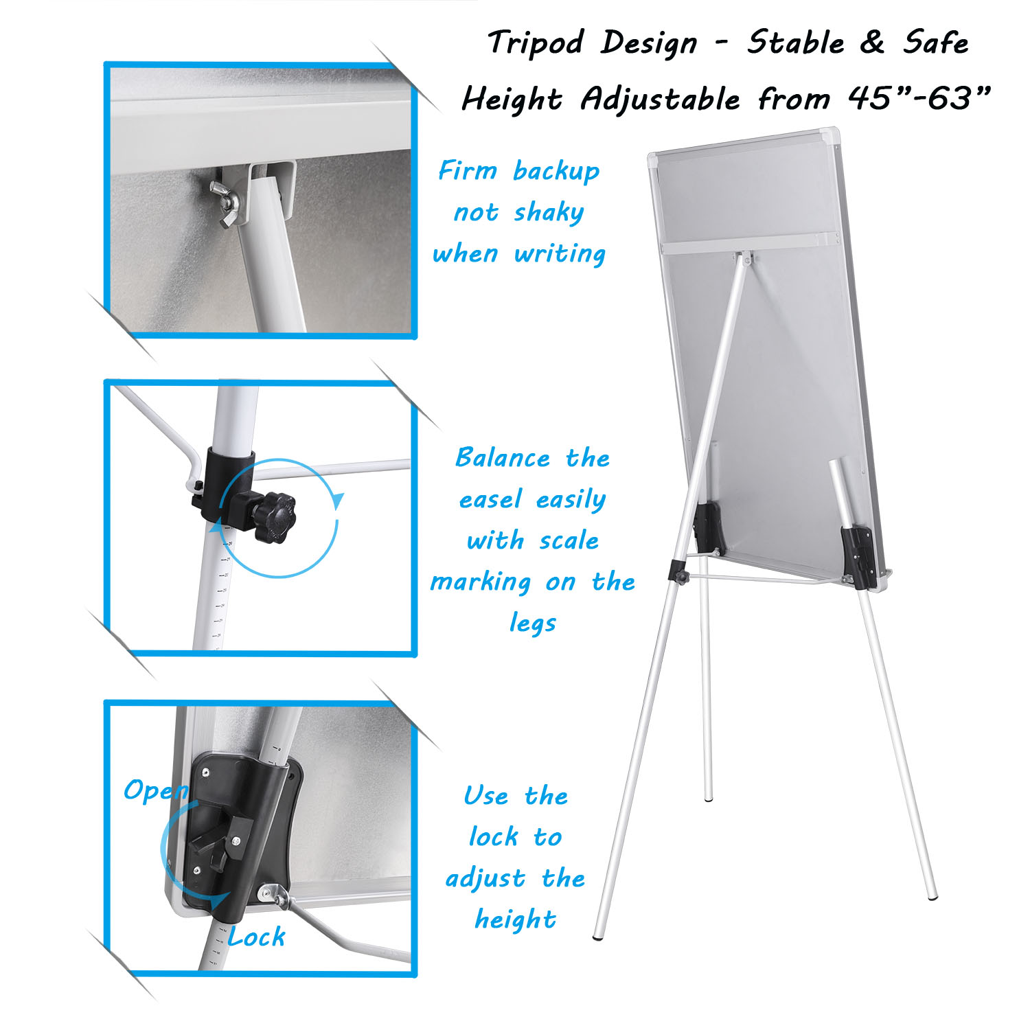 Office magnetic writing flipchart easel