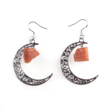 Trending Moon Silver Alloy Colorful Gem Drop Earrings Jewelry