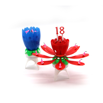 Tripod Supported Rotating Opening Up Flower Candle