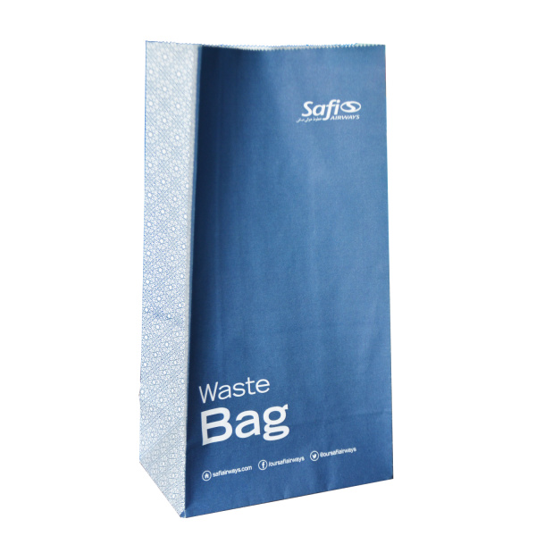 Vomit air sickness paper bag with top strip