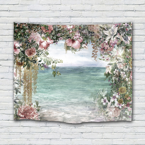Flower Sea Tapestry Wall Hanging Rose Lily Wall Tapestry Light Blue Nature Elegant for Livingroom Bedroom Dorm Home Decor