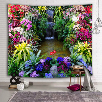 Colorful Flower Wall Tapestry Floral Nature Creek Tapestry Wall Hanging for Livingroom Bedroom Dorm Home Decor