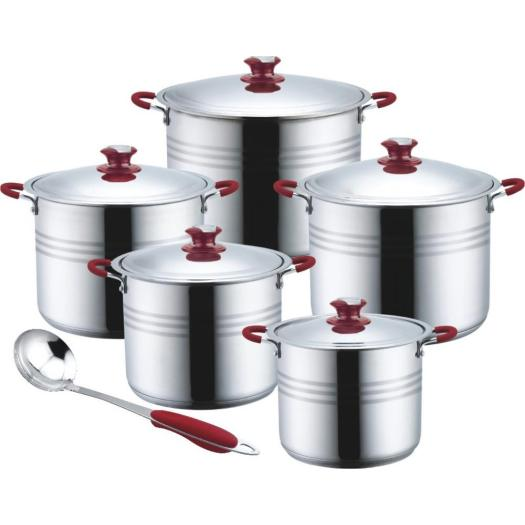 11pcs Cookware set with soft touch knob