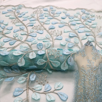 Mint African lace Fabric Layser Embroidery Lace