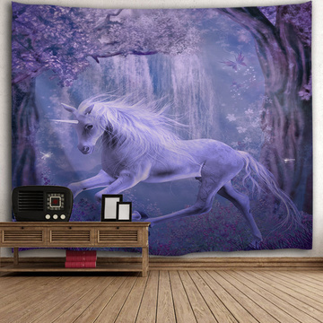 Unicorn Purple Tapestry Animal Wall Hanging Tree Flower Dreamy Tapestry for Livingroom Bedroom Home Dorm Decor