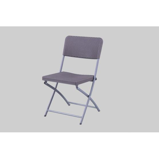Plastic rattan chair with metal legs