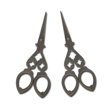 Retro multi-function titanium tea plated stainless steel double happiness beauty scissors