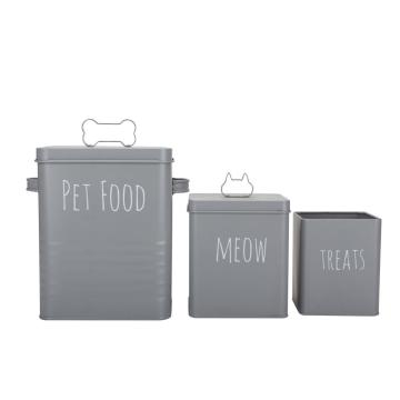 Grey Metal Pet Food Storage Container