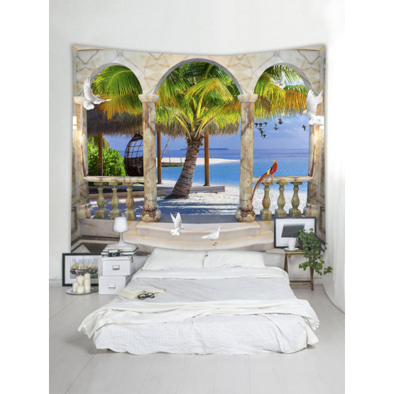 Tapestry Wall Hanging Beach Sea Series Tapestry Tropical Style Sunrise Coconut Tree Tapestry for Bedroom Home Dorm Decor