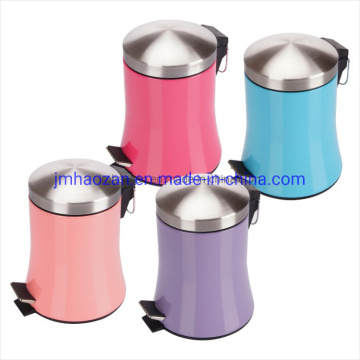 Colored Skirt Shape Body Pedal Wastebin with Stainless Steel Material