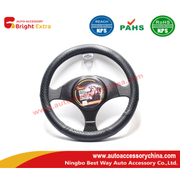 Embossed Steering Wheel Cover Black