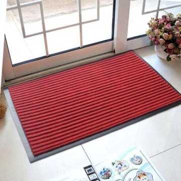 Single or double color striped ribbed door mat