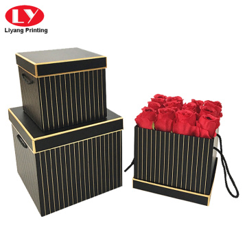 Customized square flower box with rope