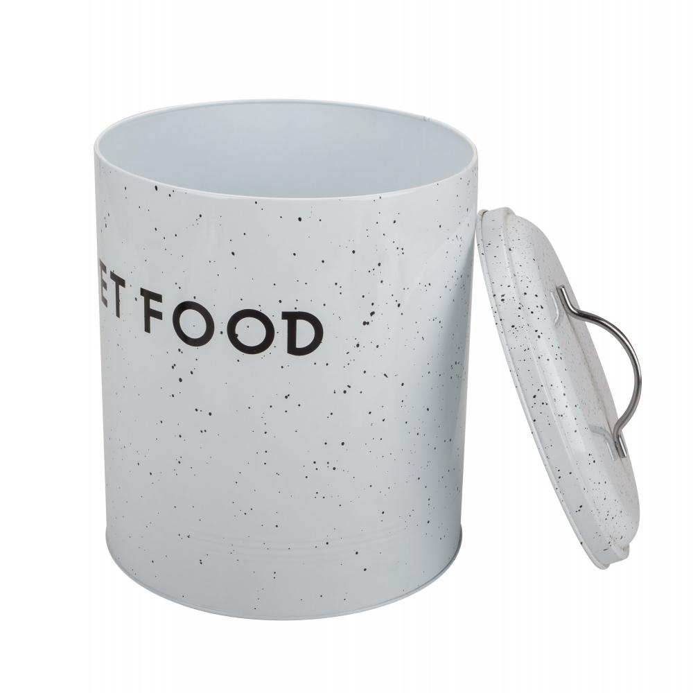 Pet Food Canister White And Black Zinc Metal