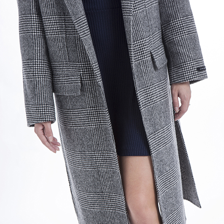 The front of fashionable striped cashmere overcoat