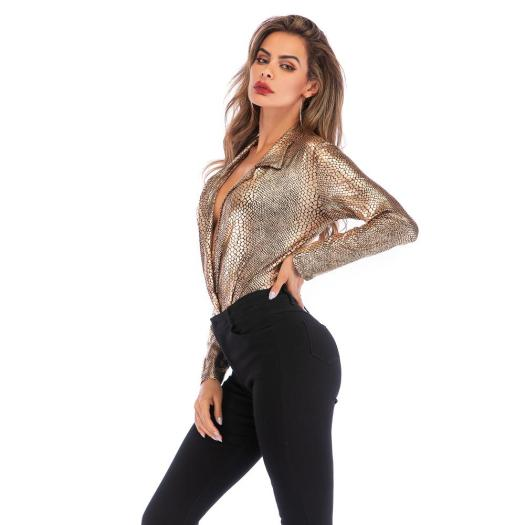 Women Sexy V-neck One-Piece Leopard Long Sleeve Bodysuit