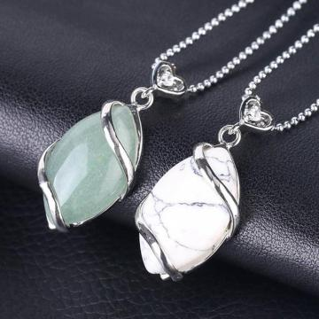 Silver Wrapped Oval Gemstone Pendant Necklace for women