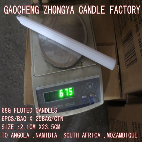 Sample free house hold white flute candle